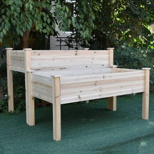 2 Tier Elevated Solid Wood Frame Raised Garden Bed