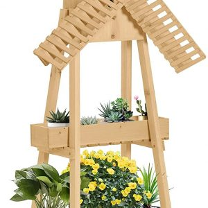 2 Tier Wood Flower Stand With Windmill