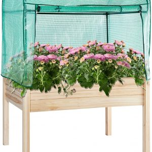 Elevated Raised Garden Wood Planter Box With PE Greenhouse Cover