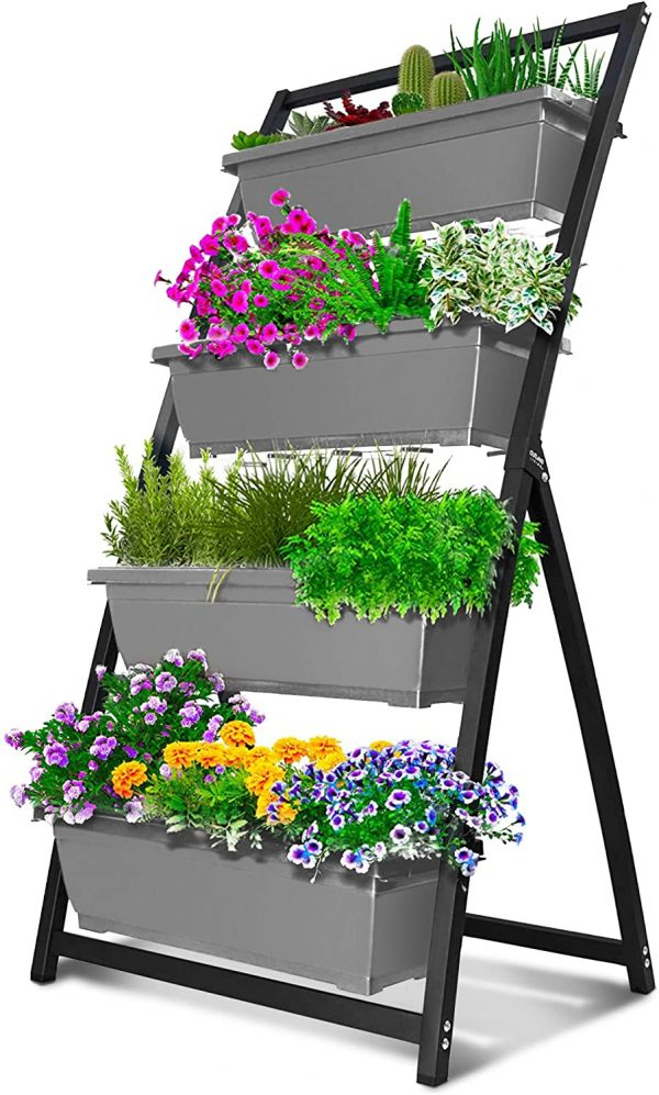 Vertical Garden Freestanding Elevated Planters 4 Container Boxes