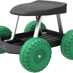 Garden Rolling Stool With Seat And Tool Tray